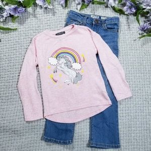 2/$24 Girl 5/6 pink unicorn sweater/jeans outfit